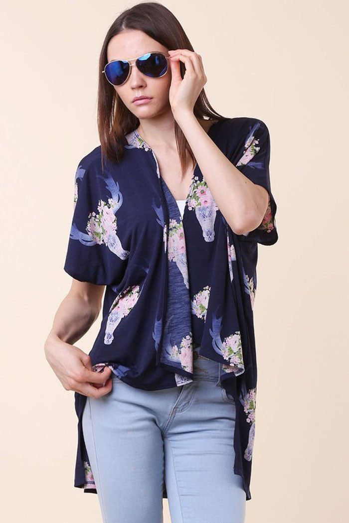 Bevo Floral Open Front Cardigan - Cardigans - GOZON