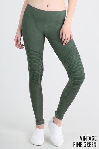 Washed Moto Jeggings : Seafoam