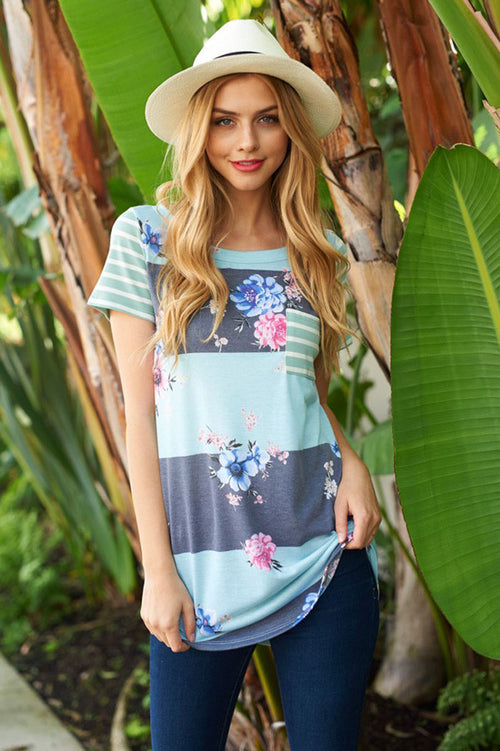 Amber Stripe Floral Top : Mint