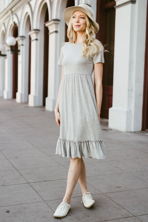 Emma Ruffle Hem Dress : Heather Grey
