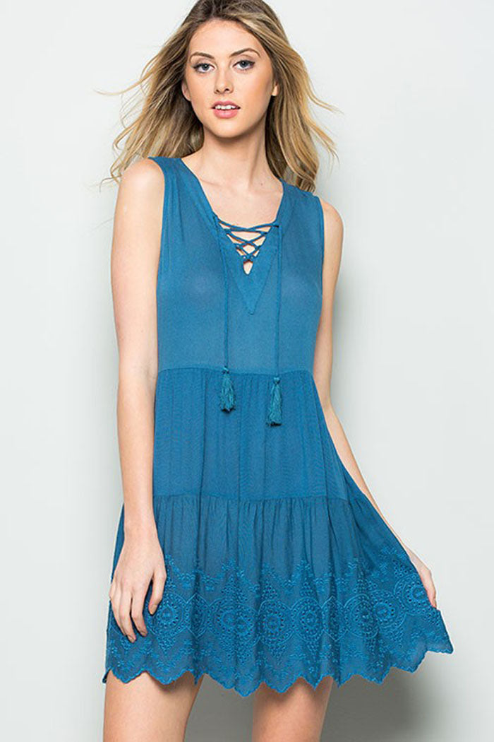 Tassel Lace Mini Dress