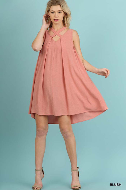 A-Line Solid Mini Dress - Mini - GOZON