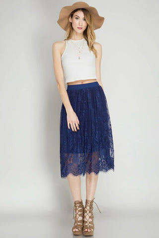 Scalloped Lace Midi Skirt - Skirts - GOZON