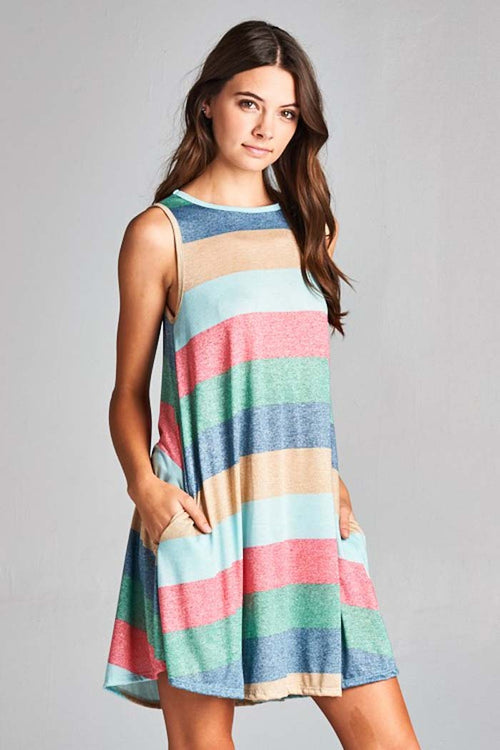Diana Colorful Swing Dress : Blue