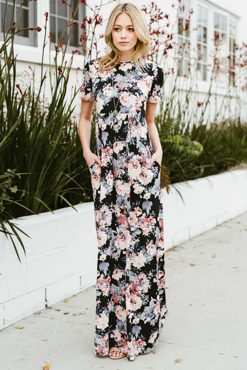 Bailee Multi Floral Maxi : Navy