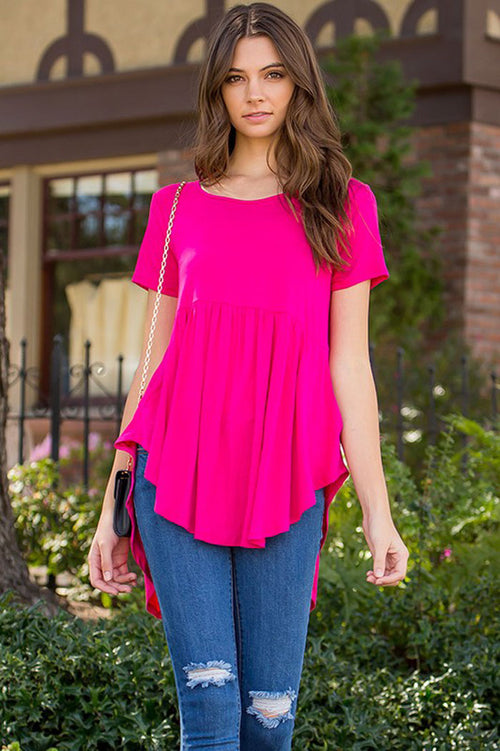 Aileen Basic Tunic Top : Fuchsia