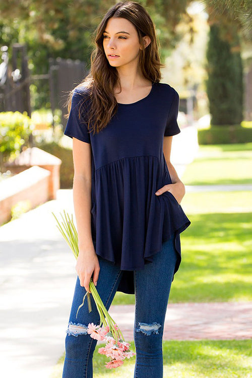 Aileen Basic Tunic Top : Navy