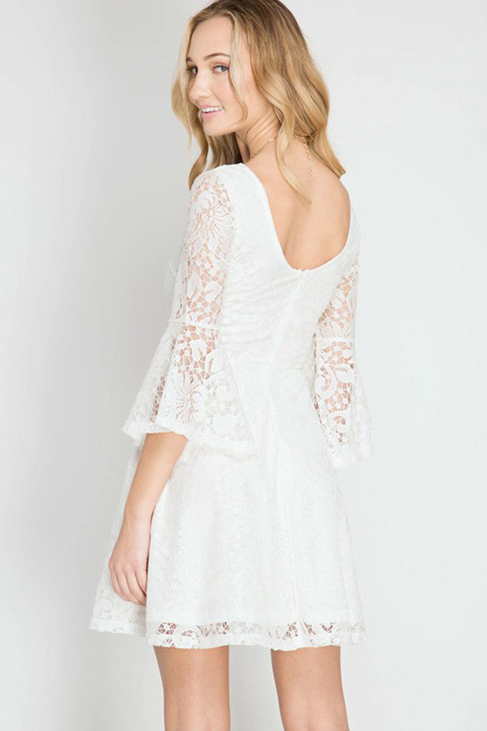 Lace Flare Mini Dress - Mini - GOZON