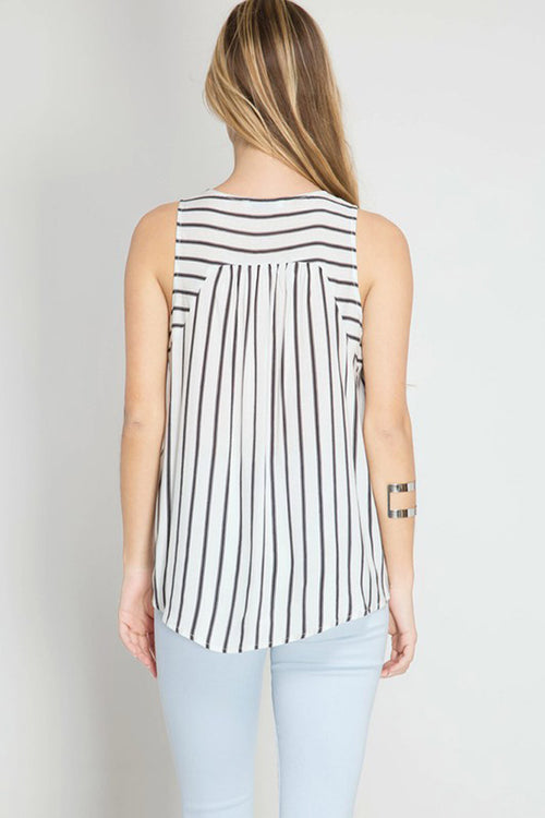 Front Tie Stripe Top - Shirts - GOZON