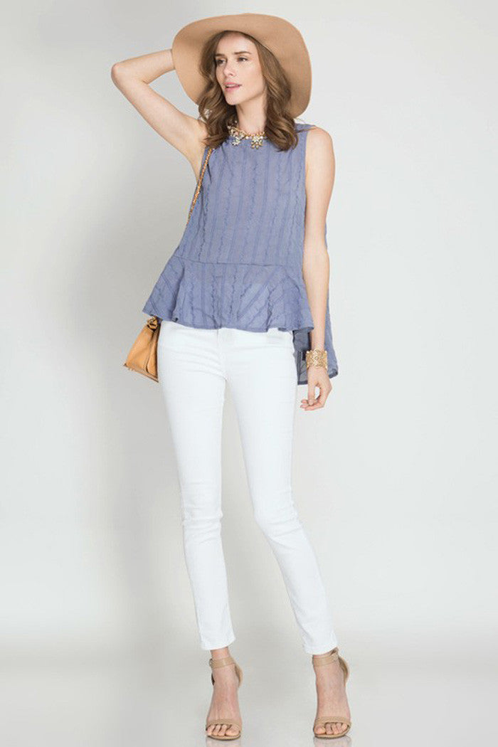 Embroidery Peplum Top - Shirts - GOZON