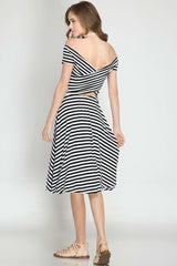 Stripe Off Shoulder Midi Dress - midi - GOZON