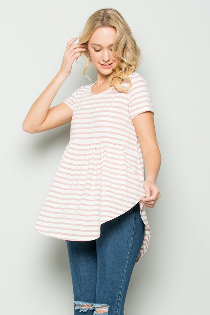Faith Stripe Babydoll Top : Mauve