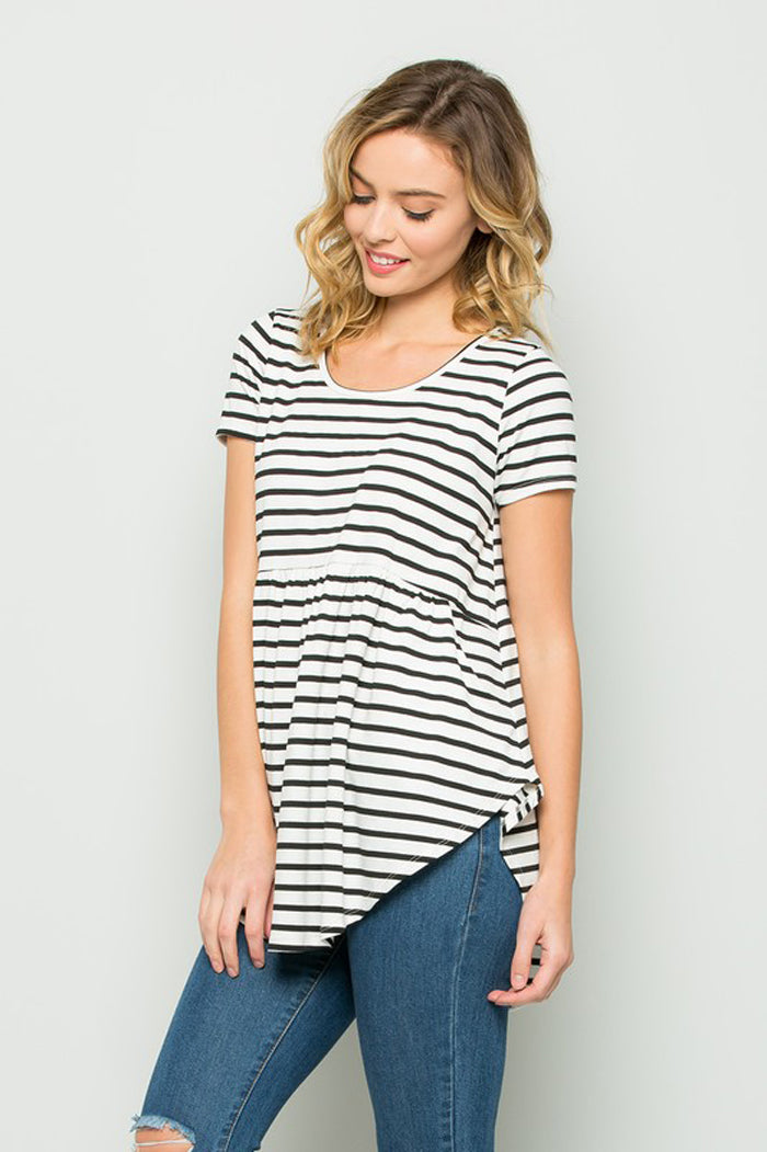 Faith Stripe Babydoll Top : Black