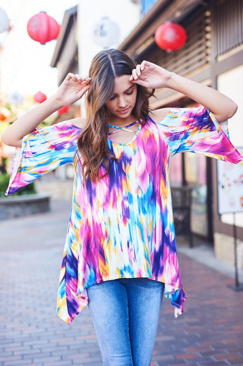 Naomi Tie Dye Cross Tunic : Multi