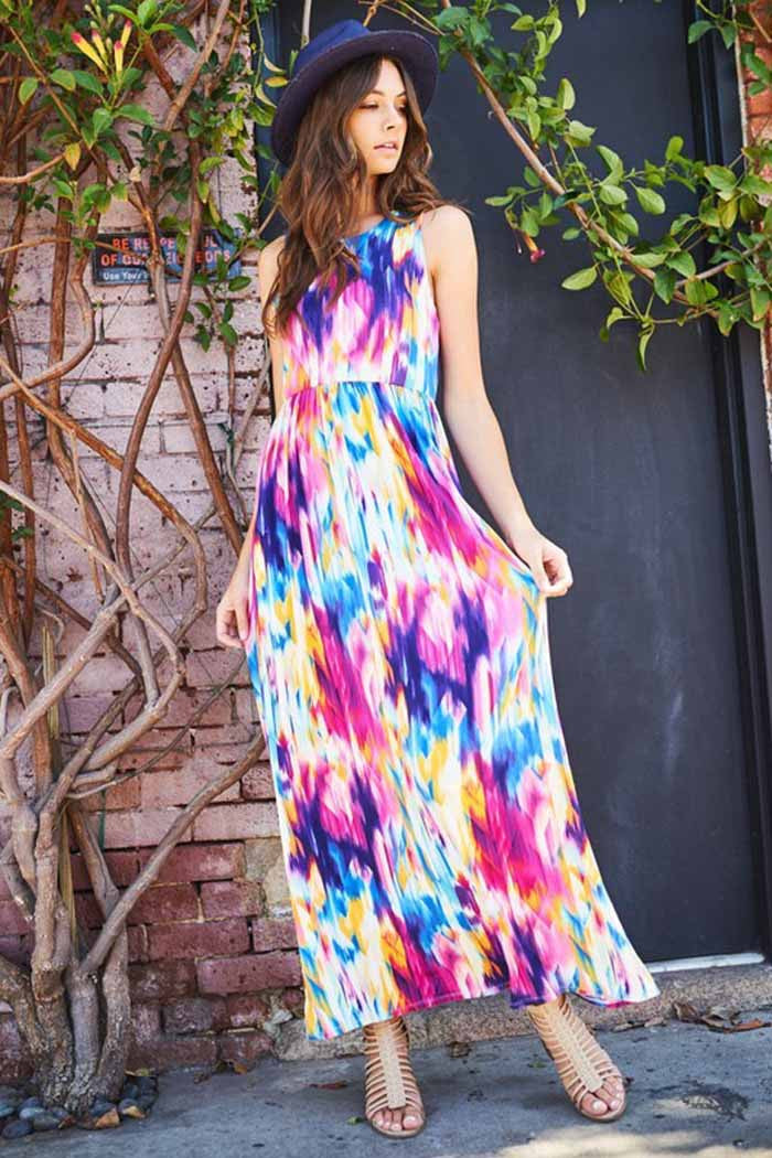 1231192c255 GOZON Women s Colorful Multi Color With Sleeveless Vavay Maxi Dress ...