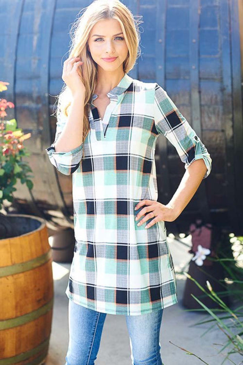 Plaid Mandarin Collar Dress - Mini - GOZON