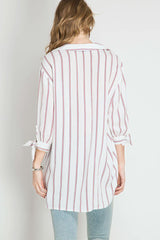 Tie Sleeve Stripe Top - Shirts - GOZON