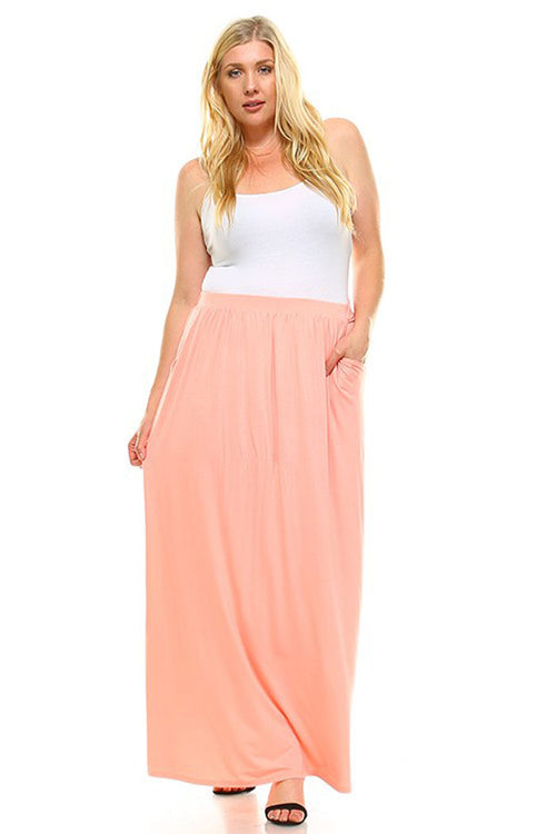 Elastic Waistband Maxi Skirt - Plus