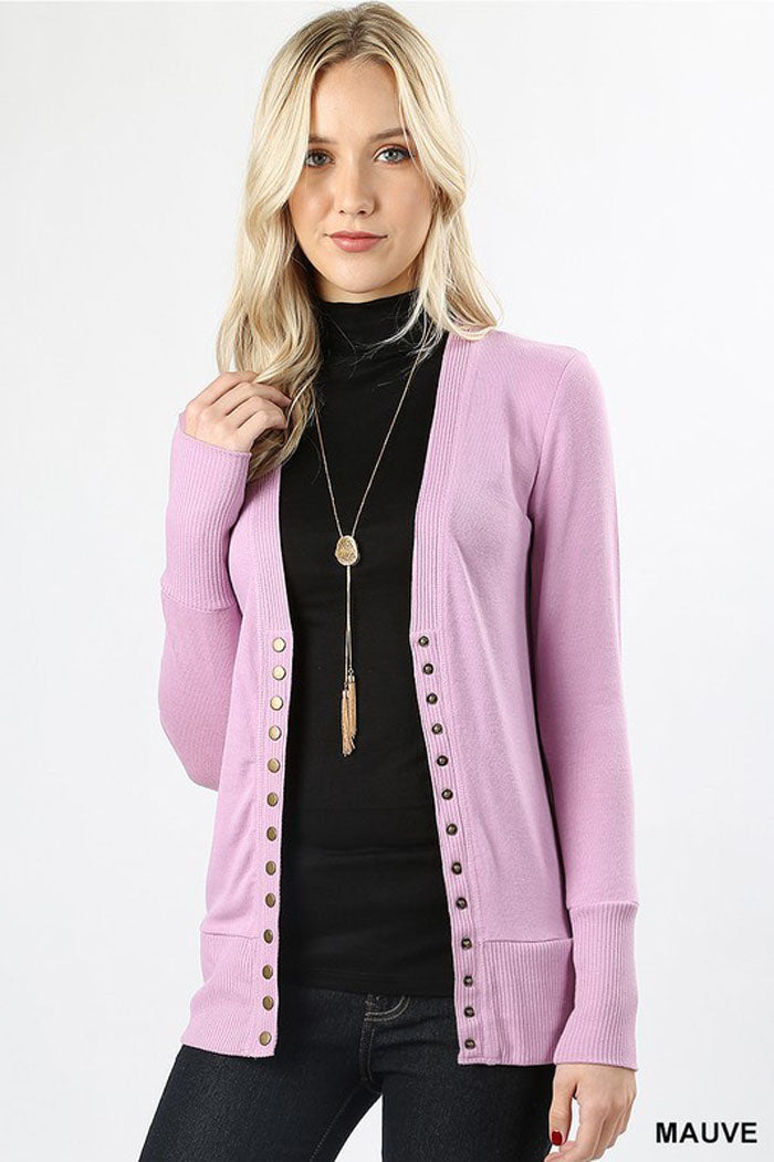 Abby Essential Cardigan : Dark Plum
