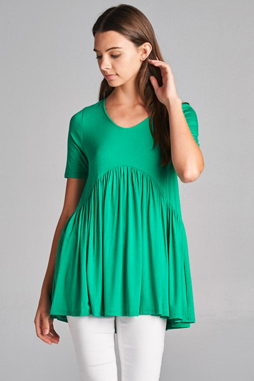 Tori Solid Babydoll Top : Kelly Green