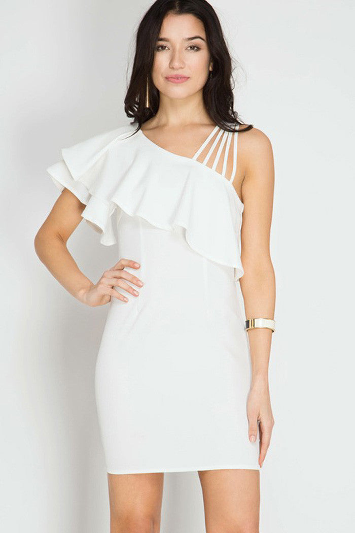 One Shoulder Ruffled Bodycon Dress - mini - GOZON