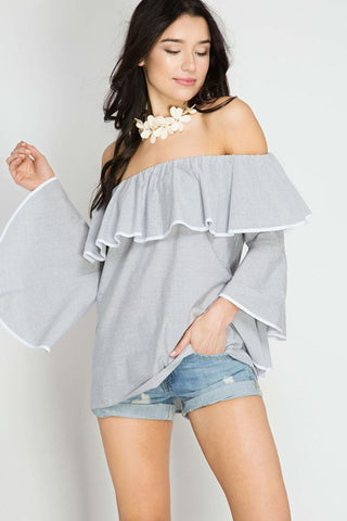 Flounce Off Shoulder Top - Shirts - GOZON
