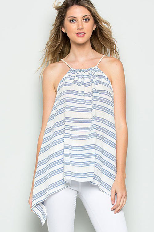 Halter Neck Stripe Top - Shirts - GOZON