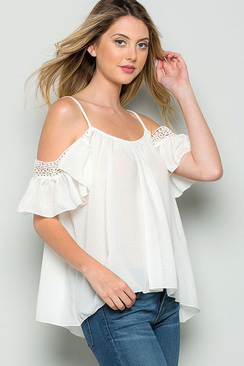 Crochet Lace Top - Shirts - GOZON