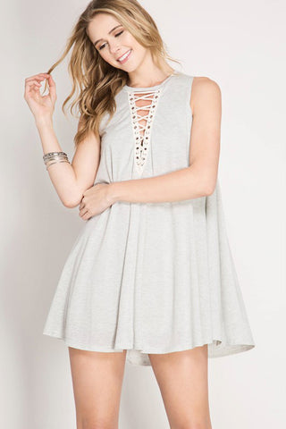 Plunging Lace-Up Dress - mini - GOZON