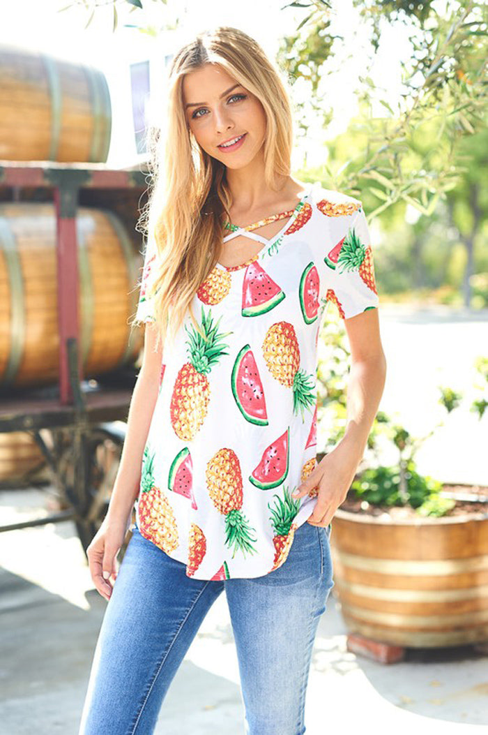 Anna Sweet Fruits Top : Ivory