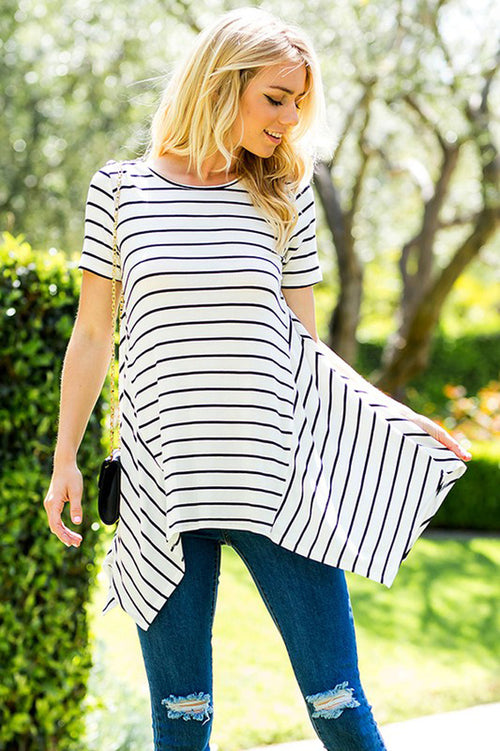 Stripe Asymmetrical Tunic Top : Ivory/Black