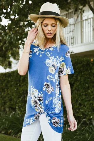 Side Knotted Floral Top