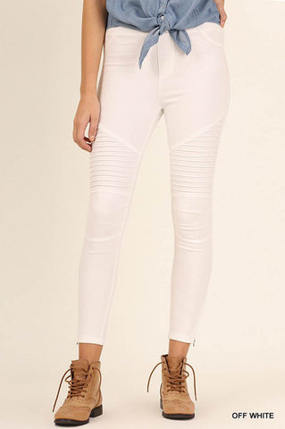 Washed Moto Jeggings : Off white