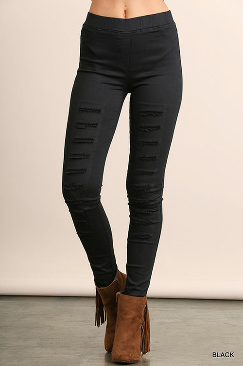 Diana Distressed Jeggings : Black