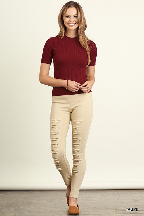 Diana Distressed Jeggings : Cream