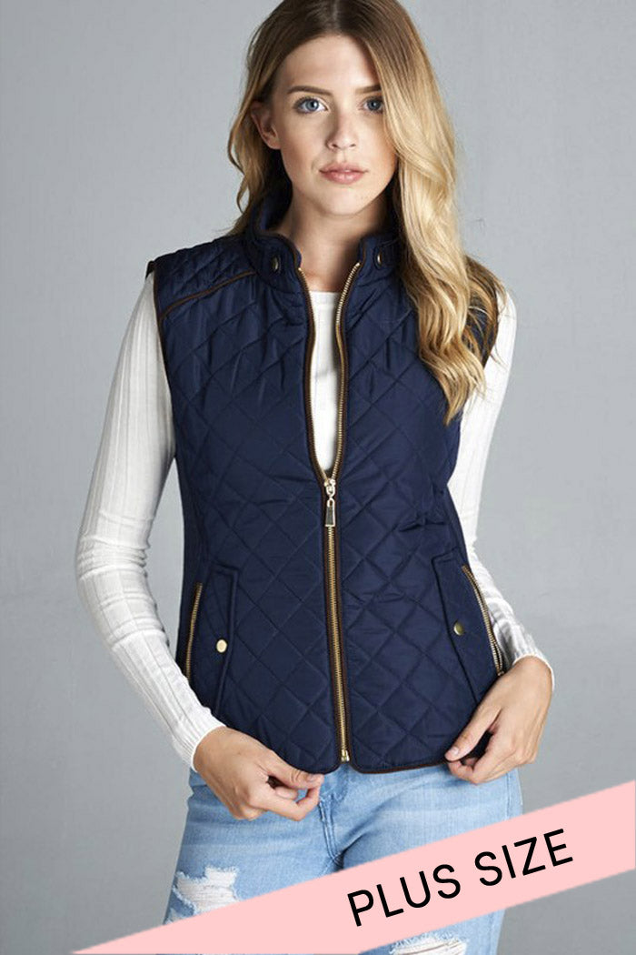 Quilted Padding Vest : Dark navy