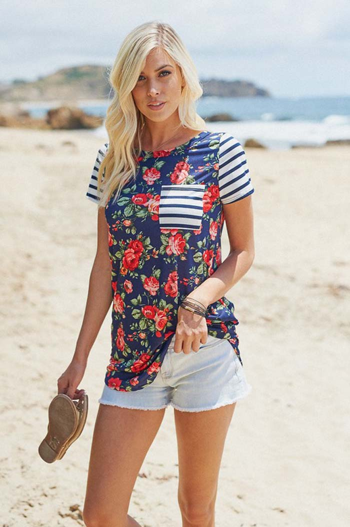 Joy Floral and Stripe Top : Navy