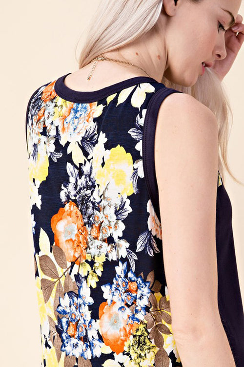 Reese Floral Tank Top : Navy