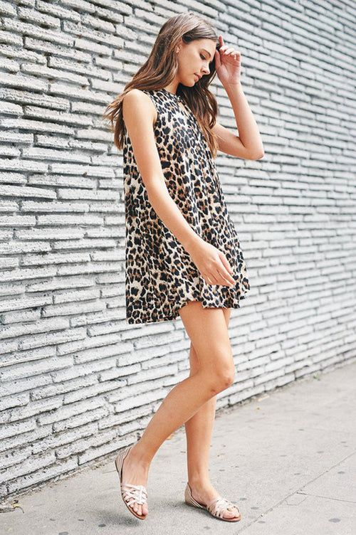 Claire Leopard Swing Dress : Brown