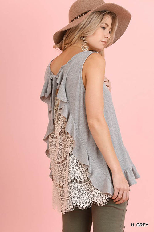 Lola Crochet Back Top : Heather Grey