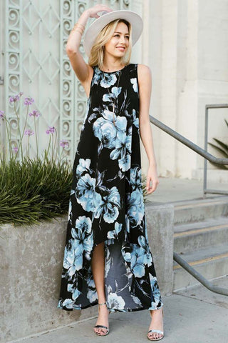 Blue Floral High-Low Maxi Dress