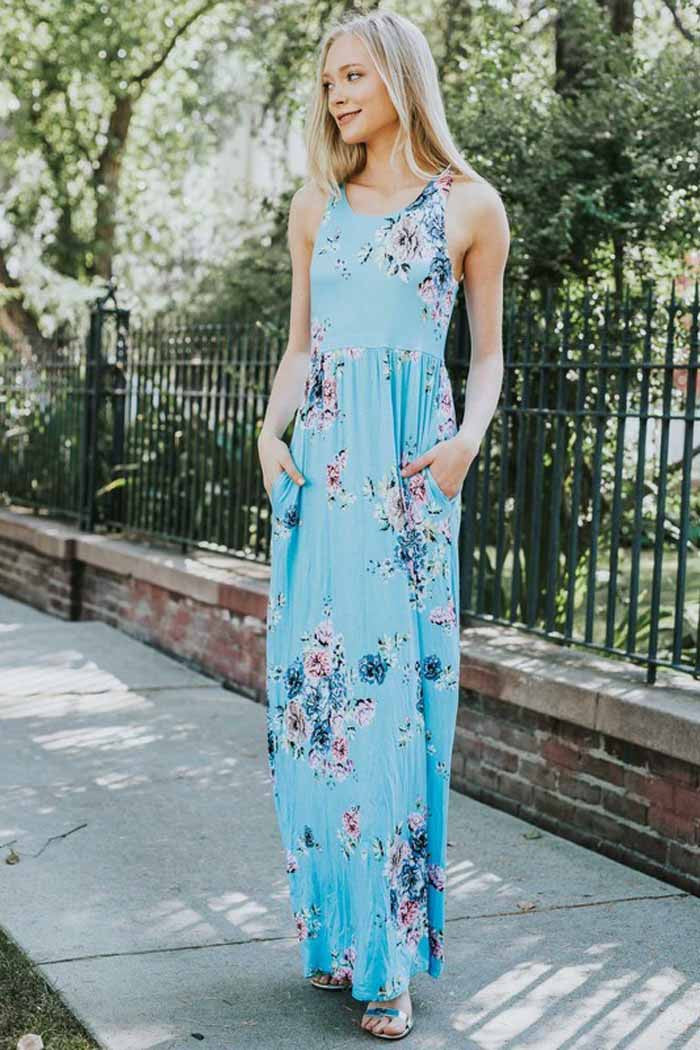 28c2deeb1e6 GOZON Women s Aqua Floral Print And Sleeveless With Side Pocket Maxi ...