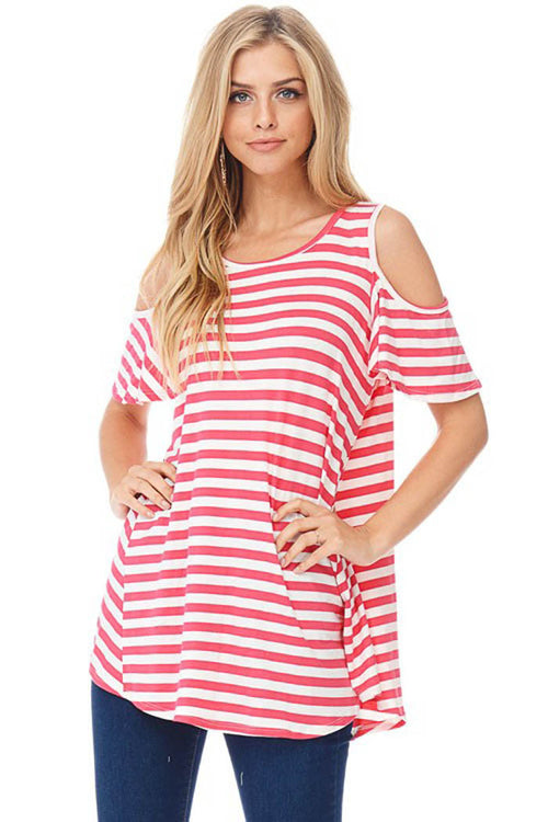 Striped Cold Shoulder Long Top - shirts - GOZON