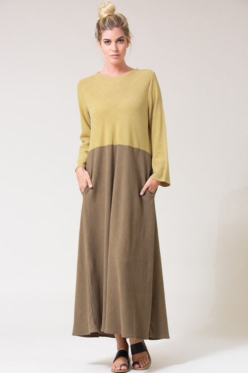 Color Blocked Linen Maxi Dress : Green garden/Olive