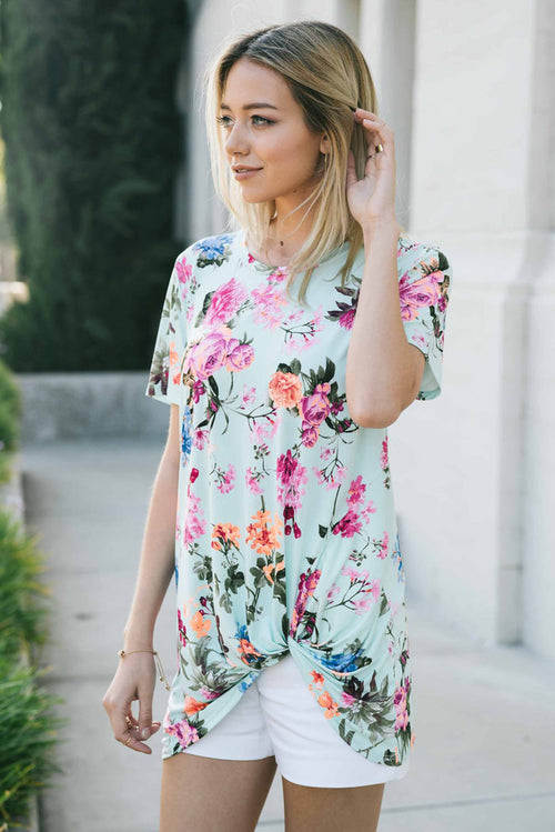 Daily Spring Floral Top : Mint