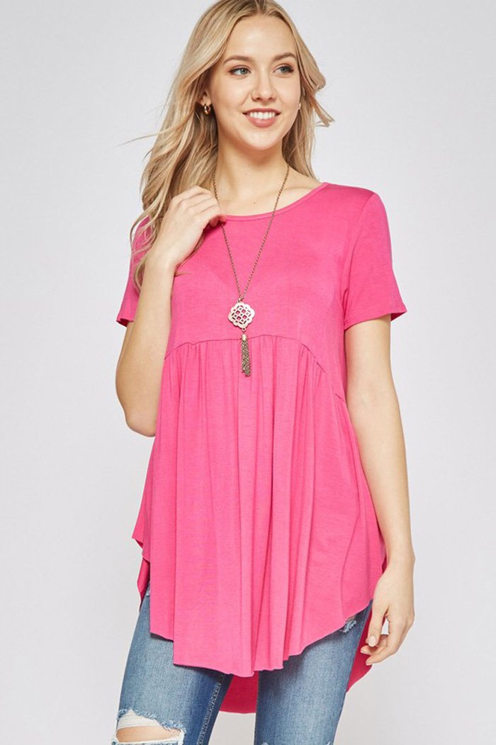 Rachel Solid Tunic Top : Hot Pink