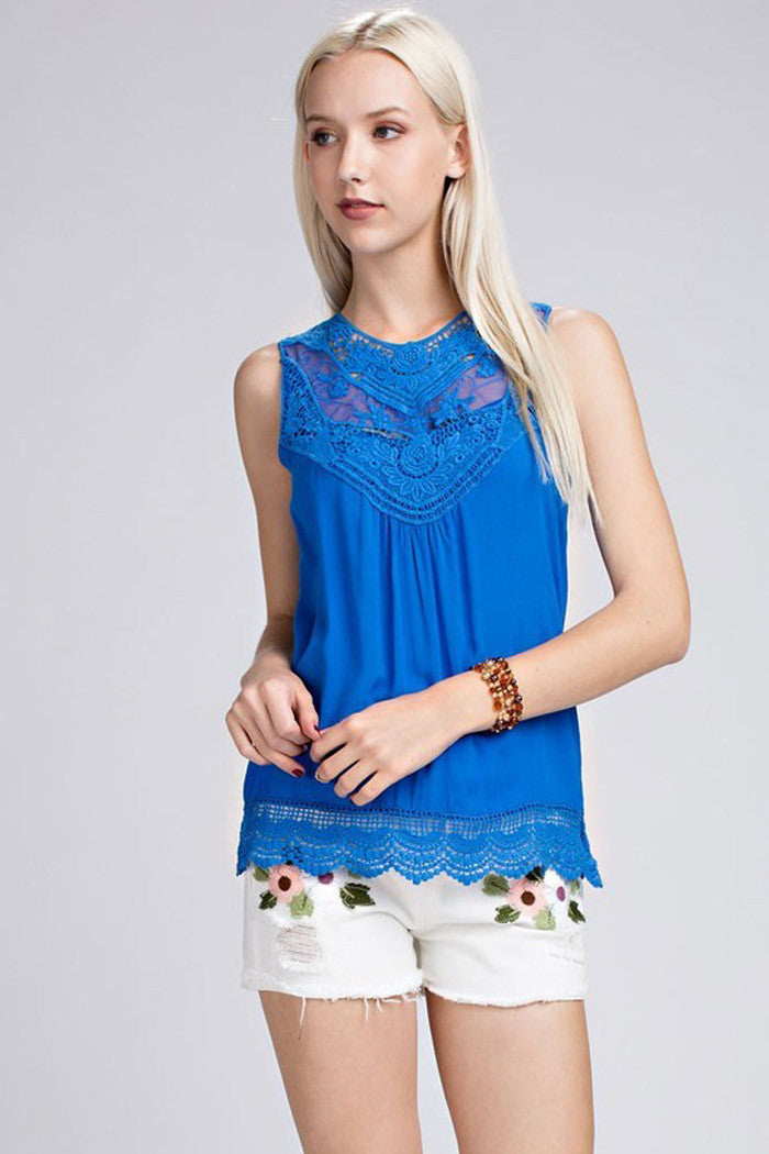 Solid Crochet Top - shirts - GOZON