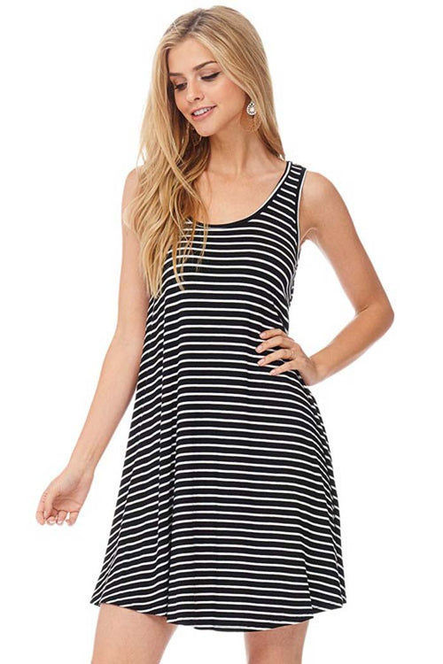 Simple Stripe Mini Dress - mini - GOZON