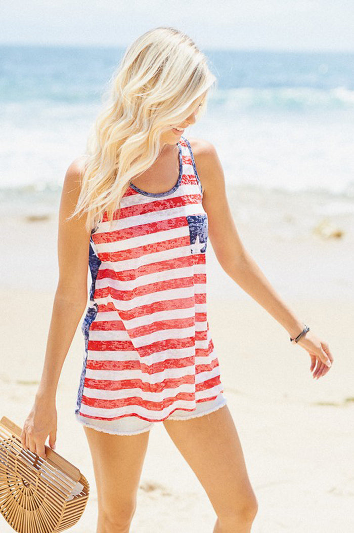 Maggie American Flag Top : Red