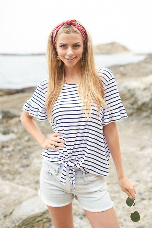 Colleen Stripe Top : White/Navy